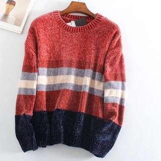 OshareGirl 10 歐美柔軟撞色條紋寬鬆雪尼爾紗針織圓領毛衣