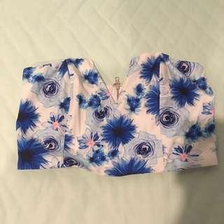 Blue Floral Croptop