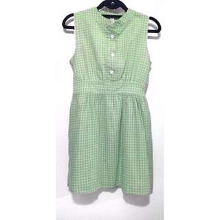 Green Chinese-Collared Dress