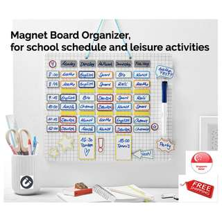 Magnet Board Organizer, with 111x magnetic rewriteable fields & marker