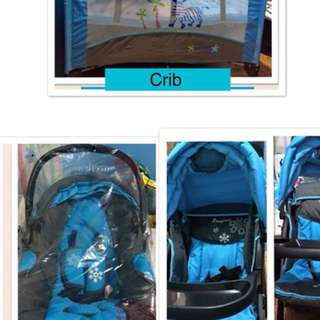 One set (crib,baby car seat & stroller)