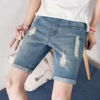 [PO]Man's Denim Ripped Shorts