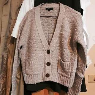藕色 Net 毛衣 外套 編織 披肩 罩衫 #手滑買太多