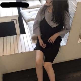 免運!五分袖條紋上衣+不規則吊帶裙