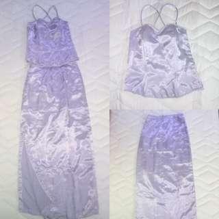 2pc purple long gown