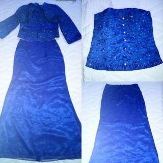 2pc blue long gown