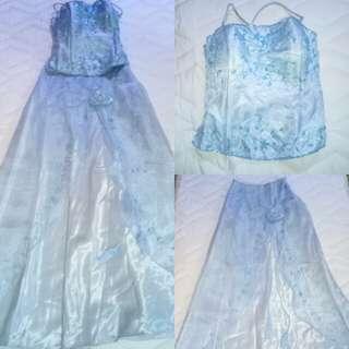 2pc light blue long gown