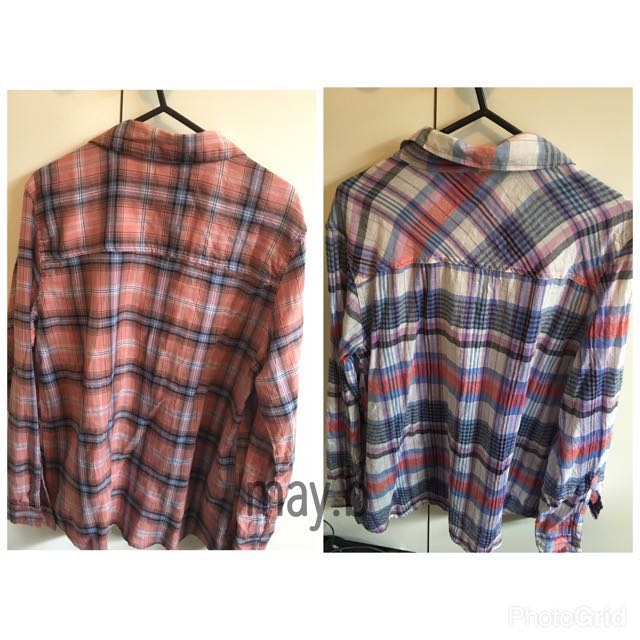 2x Light Weight Flannel Shirts Size:S Long Sleeve