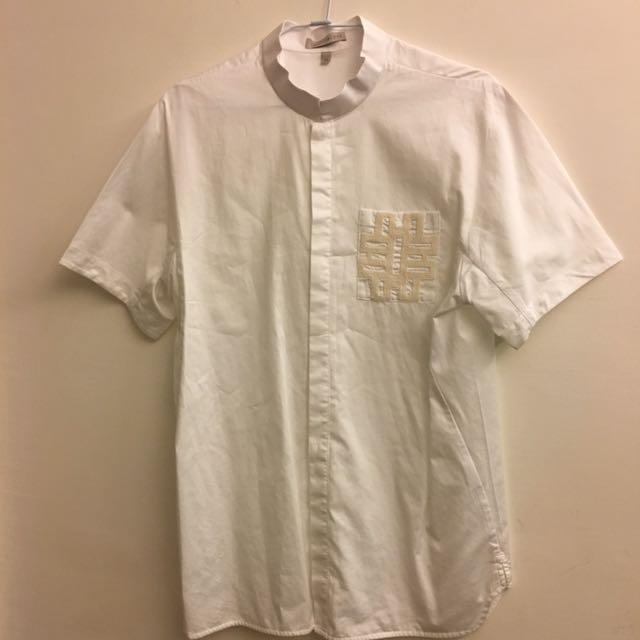 夏姿男士經典立領白色襯衫