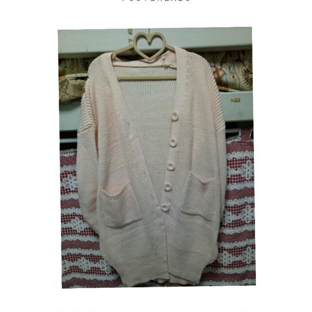 粉色長版針織外套