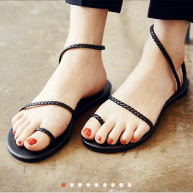 夏季編織細帶交叉平底鞋