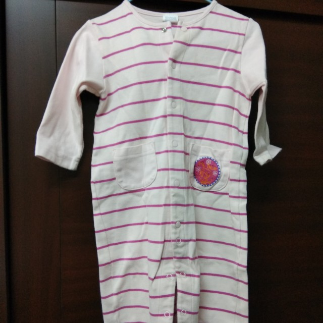 愛的世界嬰幼兒長袖連身裝,二手,粉條紋
