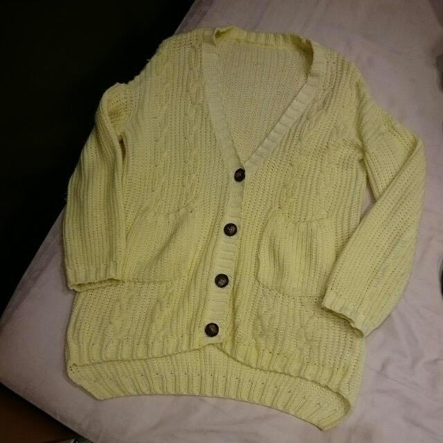 全新 粉嫩黃色針織外套