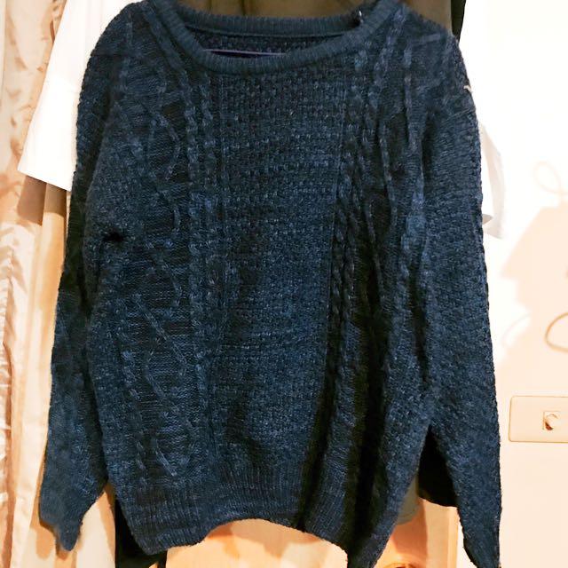 深藍色 毛衣 編織 #手滑買太多