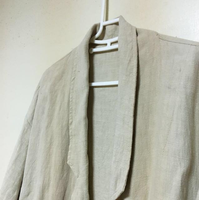 棉麻 淺卡其 西裝領 繭型 外套