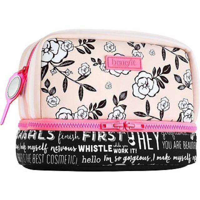全新 雙層雙色 貝玲妃大化妝包 BENEFIT💖💖💖Large Floral Dome Bag