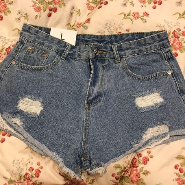 全新轉賣 顯瘦 微反摺刷破牛仔短褲 L號 M可穿