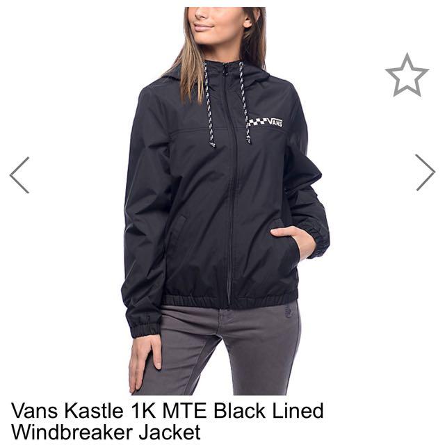 e0f60f4988 美國直送Vans Vans Kastle 1K MTE Black Lined Windbreaker Jacket Item ...