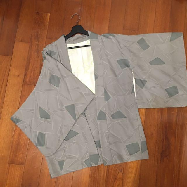 古著 vintage 日本灰色菱格和服罩衫 kimono