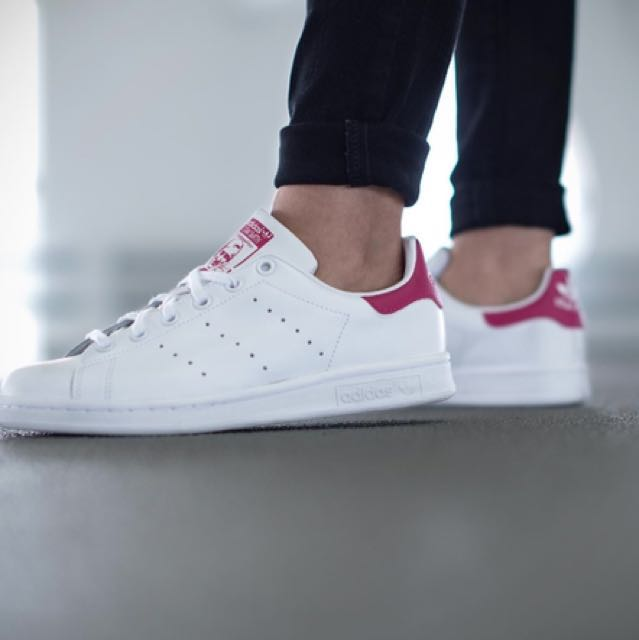adidas ® originale stan smith j rosa / weiß, preloved damenmode