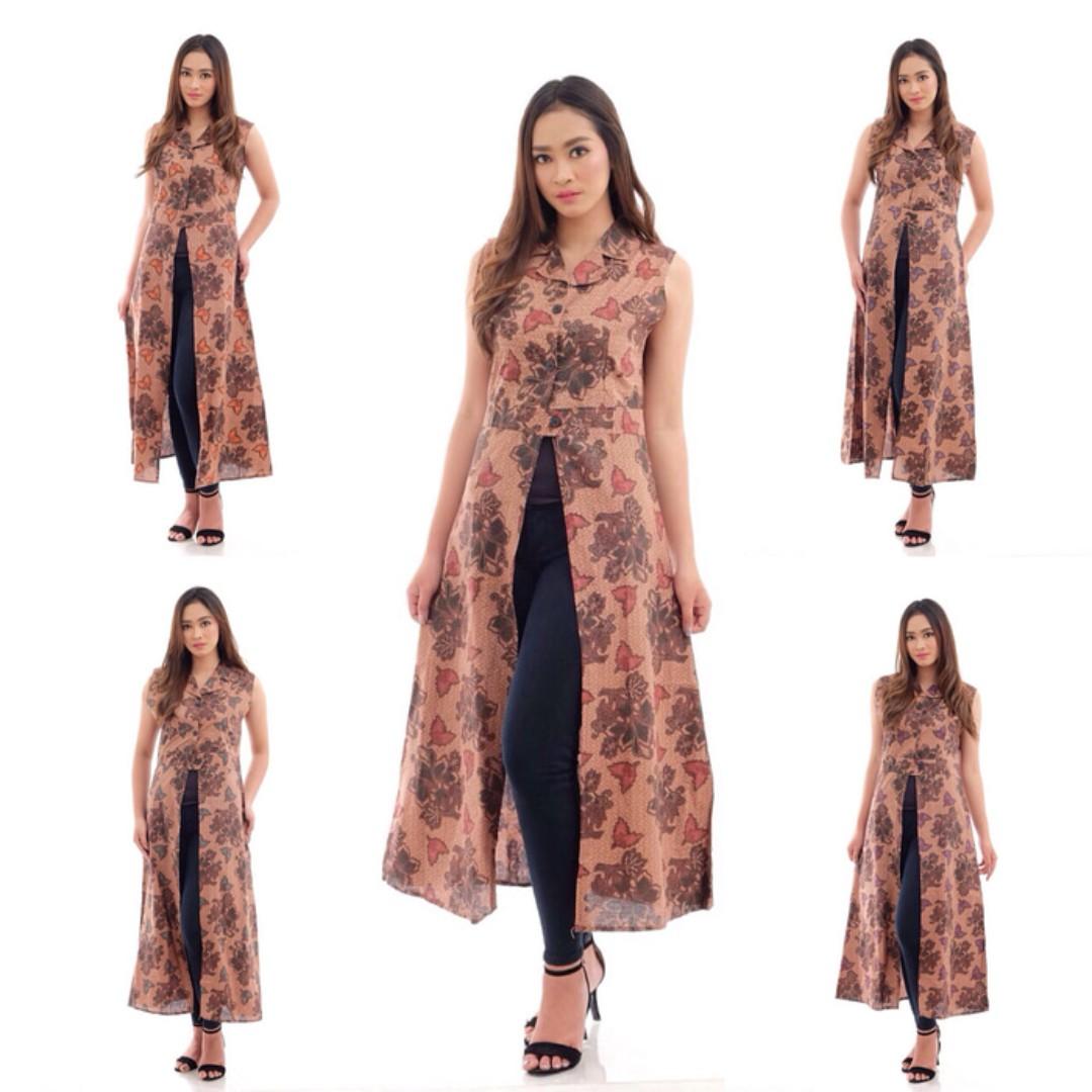 baju dress longvest batik