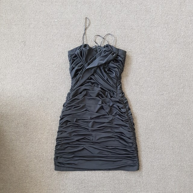 Black cocktail dress woth frills size xs size 8