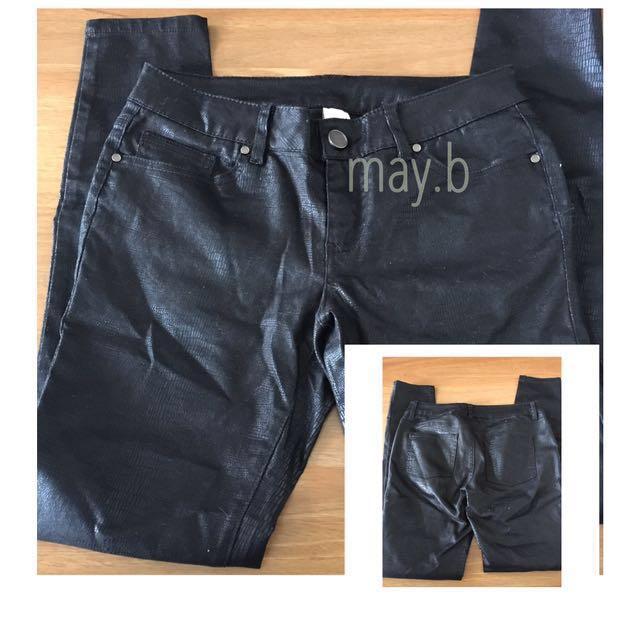 Black Faux Snake Skin Pants Size 10