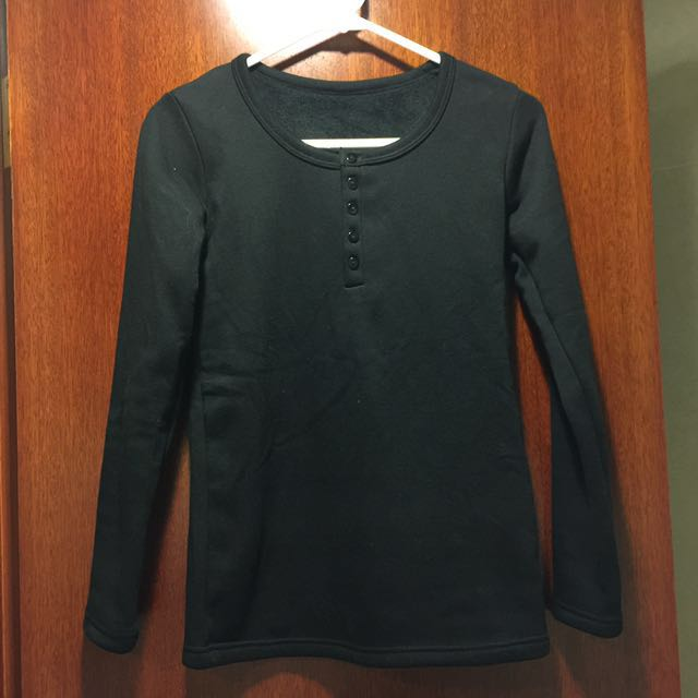 Brand New Warm Black Heat Fleece T-shirt With Buttons