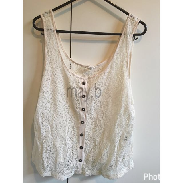 Cream Lace Crop Top Size M