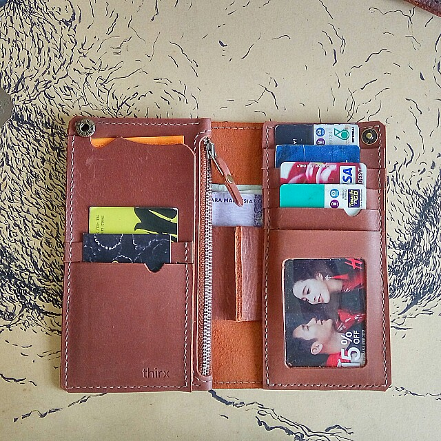 Customize Leather Lobg Wallet+Name Emboss