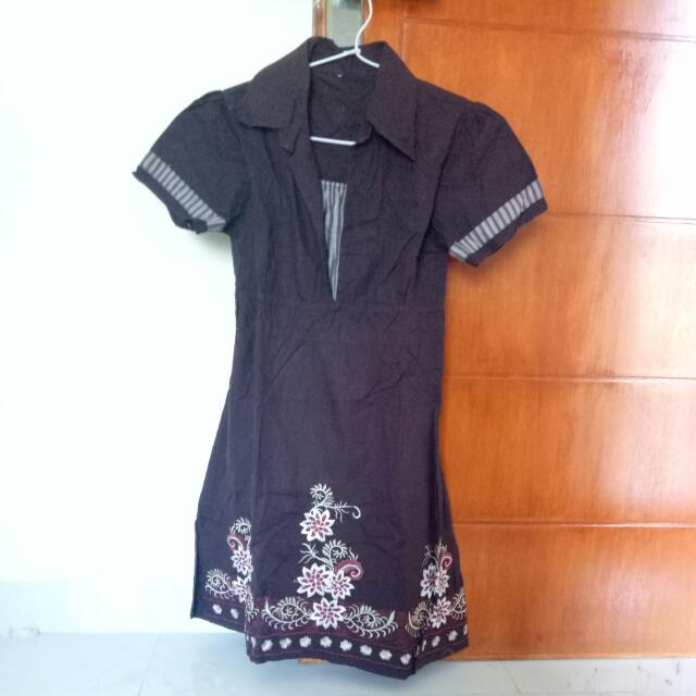 Dress Coklat Bunga