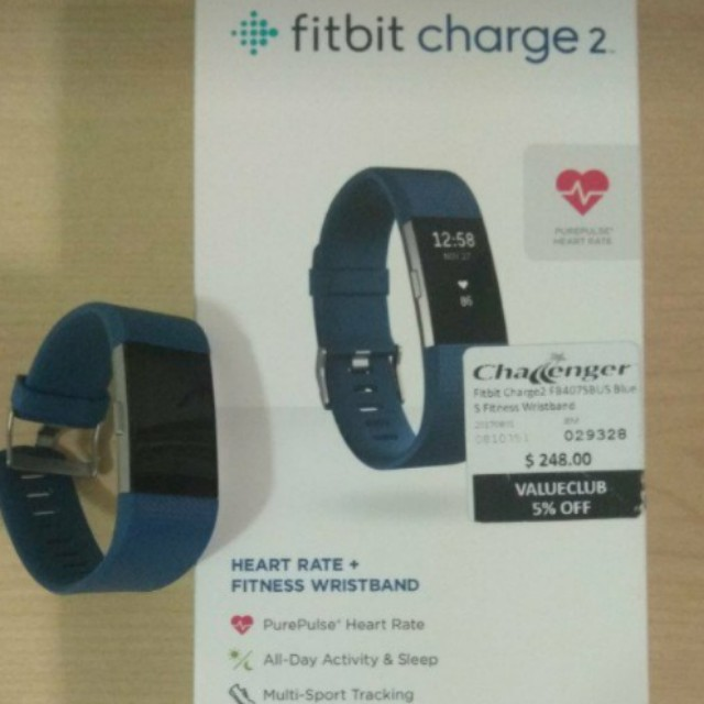 Fitbit Charge 2 - Blue & Small, Sports, Sports & Games