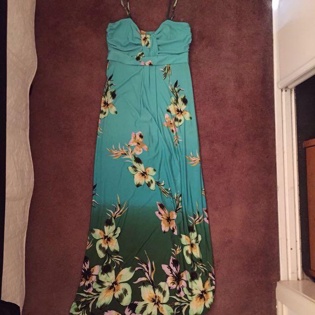 Floral Blue Maxi Dress