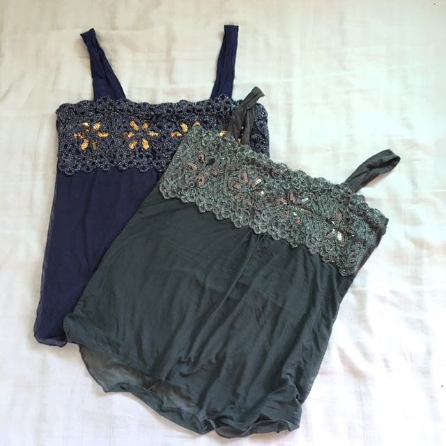 flowy sequin top with square neckline