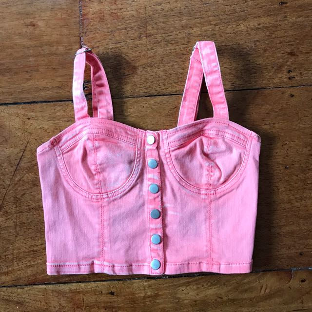 Forever 21 Denim Cropped Top (Pink)