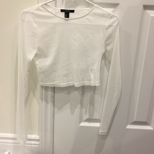 Forever 21 mesh white crop top