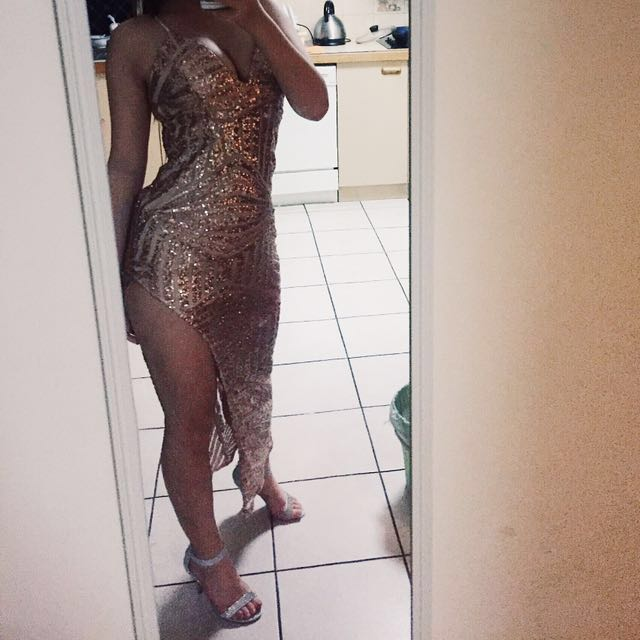 Gold Sequin dress FOR HIRE