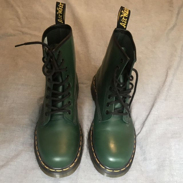 Green Smooth Doc Martens