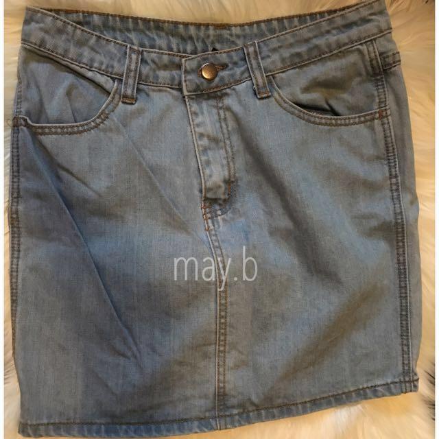 High Waisted Denim Skirt Size 10 'Just Add Sugar'