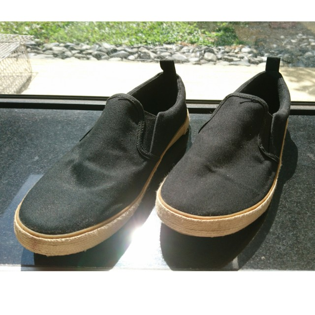 H&M Black Slip On Espadrilles Shoes