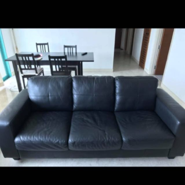 IKEA black leather 3-seater sofa, Furniture, Sofas on Carousell