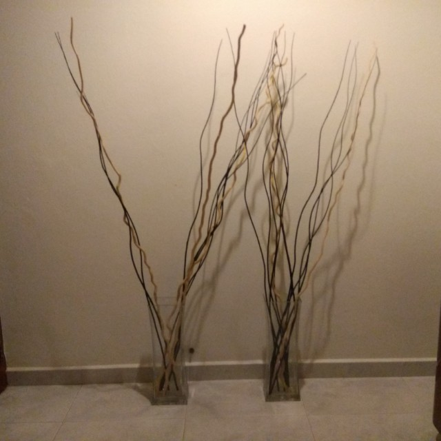 Ikea Rektangle Glass Vase With Wood Branches Furniture Home Decor