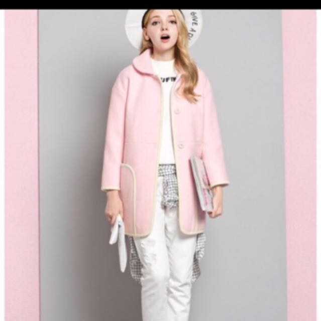 Japanese Pink Stylish Cutie Long Coat Jacket With Pockets