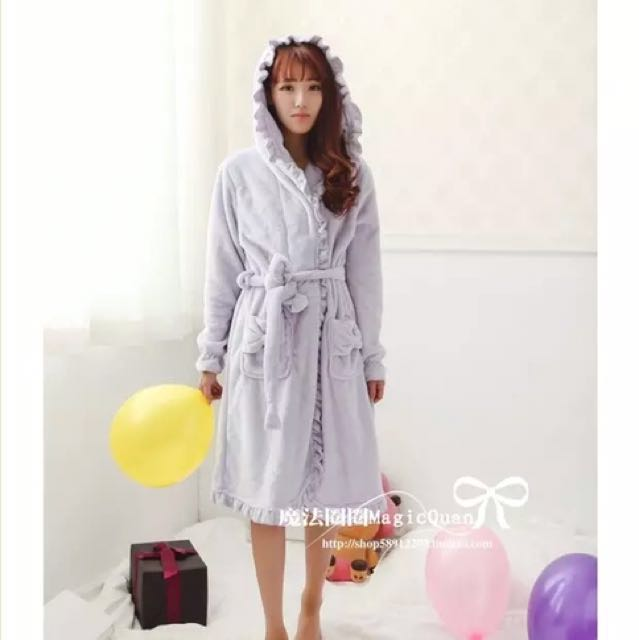Japanese Style Comfortable Soft Purple Fleece Bathrobe