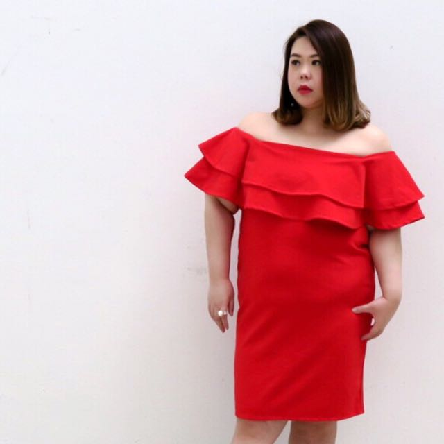 Juneoesque Plus Size Shyanne Ruffles Offshoulder Dress