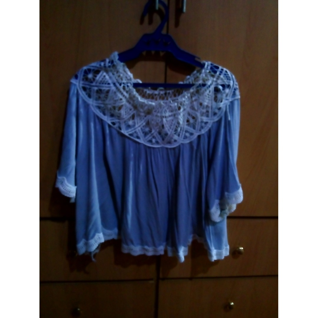 Light blue batwing shirt