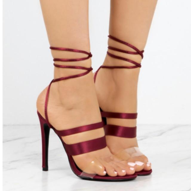 lolas shoetique burgundy high heels