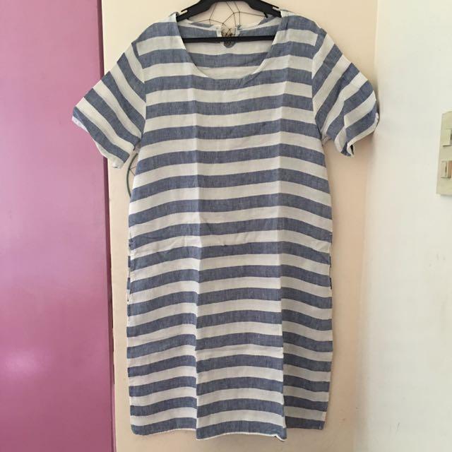 Loose stripe shirt dress