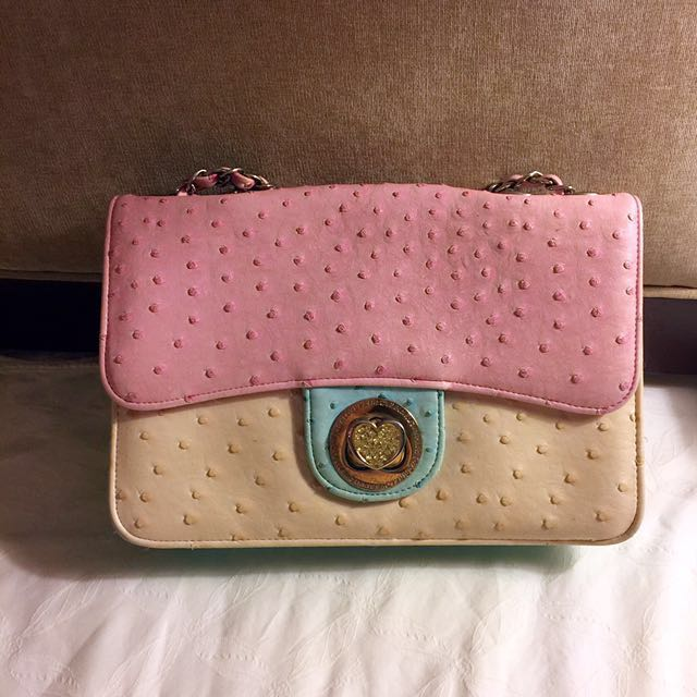 Love Pink Korean Pinky Cutie Ostrich Grain Bag