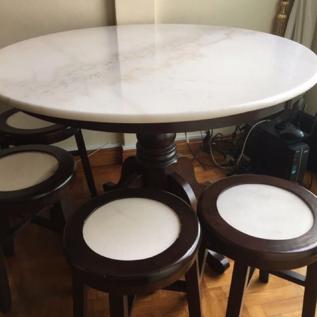 Marble Kopitiam Table W 4 Chairs Furniture Tables Chairs On Carousell